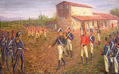 """Nº32: """"Encuentro de S. Martín y Belgrano, óleo sobre tela de Tomás del Villar. M.H.de Luján."""