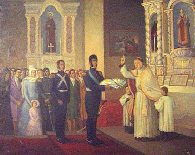 """Nº34: """"S. Martín presentando la Bandera de los Andes y el Bastón de Mando para su bendición"""", óleo de O.Gómez. (celda de S. Martín en el Convento de Sto. Domingo. San Juan)."""