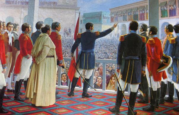 """Nº35: """"Proclamación de la Independencia del Perú"""", óleo de Edna Velarde."""